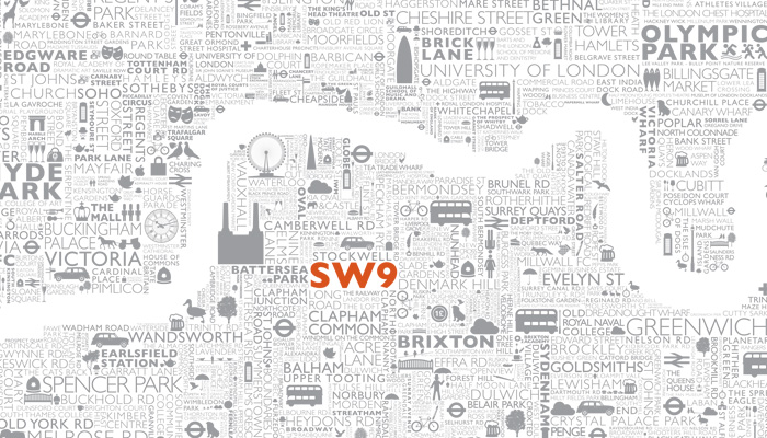 SW9 Typographic Wall Display